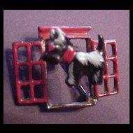 Vintage Enameled Scottie Doggy in the Window Trembler Pin