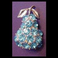 Vintage Blue Rhinestone Fruit Pear Pin