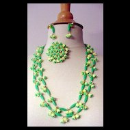 1960's Green and Yellow Plastic Flower Necklaces Pin and Earrings