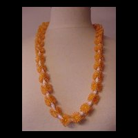 Peachy  Plastic Flowers Necklace