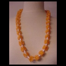 Peachy  Plastic Flowers Necklace