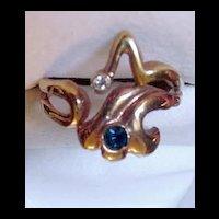 Vintage Free Form  Rhinestone Ring