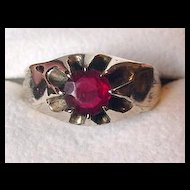 Victorian Revival Gold Shell and Red Stone Ring