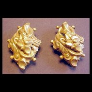 Victorian Revival Design Leaf and Grapes Pair of Dress Clips