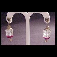 Clear and Red Lucite Dangle Earrings