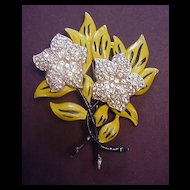 Rhinestone Flower Pin in Pot Metal with Enamel