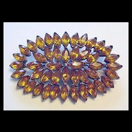 Pot Metal and Amber Rhinestones Pin