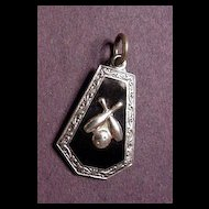 Sterling Silver and Black Enamel Bowling Pins and Ball Charm