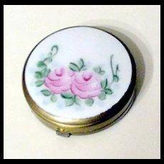Pink Enameled Rose Compact / Pill Box  with Provenance