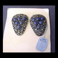 Vintage Coro Dress Clips Natural Blue Stones with Original Price Tag