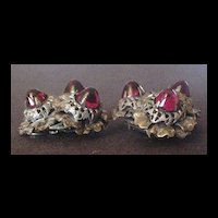Vintage Brass and Ruby Red Glass Dress Clips