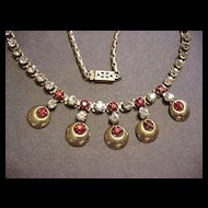 Retro Ruby Red Rhinestone Necklace