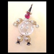Figural Pin Clear Lucite & Clear Rhinestone Belly