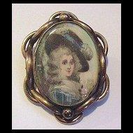 Antique Victorian Miniature Portrait Pin