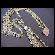 Vintage Coro NWT Faux Pearl and Chain Necklace
