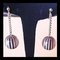 Lucite Dangle Earrings Brown Stripes