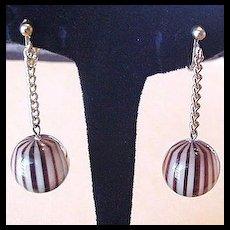 Lucite Dangle Earrings Brown Stripes