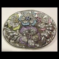 Labor Intense Enameled Pot Metal Flowers Pin