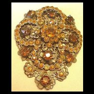Superb, Immense Topaz Rhinestone Dress Clip
