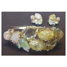 Sparkling Lemon Yellow Rhinestone Bracelet and Earrings