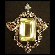 Prominent Retro Modern 14k & 18k Gold Citrine and Diamond Pendant Necklace