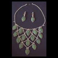 Bold & Beautiful D & E Rhinestone Necklace & Earrings