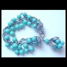 Turquoise Blue Glass & Silvertone Chains Bracelet