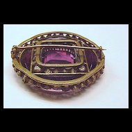 Large Victorian Brass and Amethyst Glass Pin