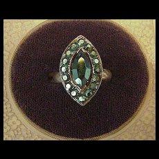 Green Aurora Borealis Rhinestone Cocktail Ring
