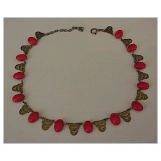 Lipstick Red Glass and Brass Art Deco Necklace