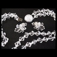 Crystal Clear Faceted Necklace and Earrings