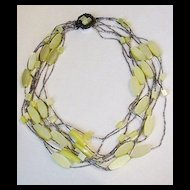 Yellow and Clear Beaded Necklace