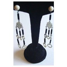 Art Deco Celluloid and Black Glass  Earrings