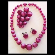 Fuschia Moonglow Necklace, Dress Clip and Earrings