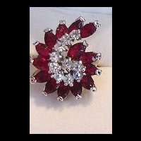 Ruby Red Glass Rhinestone Cocktail Ring