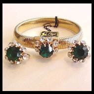 Coro Green Rhinestone Bracelet and Earrings