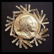 Hobe Framed Golden Coin Pin / Pendant
