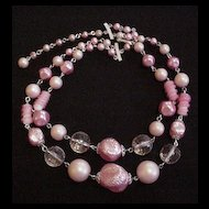 Pink Double Strand Bead Necklace