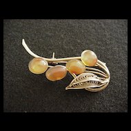 Filigree and Carnelian Pin