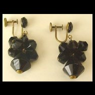 West Germany Black Glass Earrings