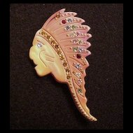 French Celluloid & Rhinestone Pin