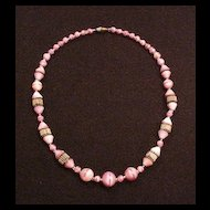 Art Deco Pink Art Glass Necklace