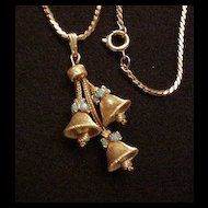 Vintage Bells & Rhinestones Necklace