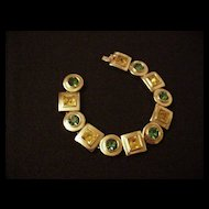 Citrine and Emerald Rhinestone bracelet