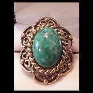 Green Art Glass Ring