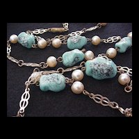 Turquoise  Glass Long Chain Necklace