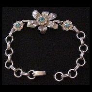 Retro Modern Rhinestone Floral Bracelet