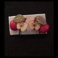 Vintage Plastic Apple Earrings