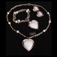 Trifari Hearts Necklace, Bracelet and Earrings