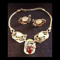 Unsigned Selro Dragon Necklace and Earrings